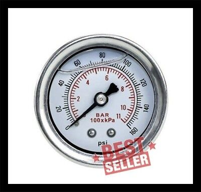 Fuel Pressure Gauge Liquid 0-160 psi Oil Press Fuel White Face Universal 1/8 NPT