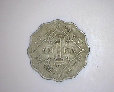 1907 One Anna, India. King George VII Coin