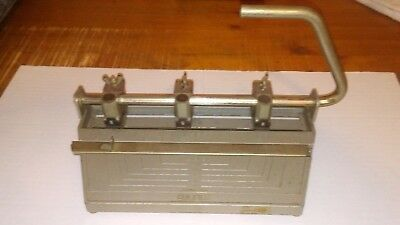 Vintage Bates-Heavy Duty Adjustable 3 Hole Punch - Made-In-The-Usa-Free Shipping