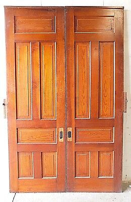 1800's Antique Wooden POCKET DOORS Victorian Style FIR Six Panel Original ORNATE