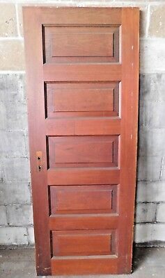 Antique Victorian Interior Five Panel Door - C. 1905 Fir Architectural Salvage