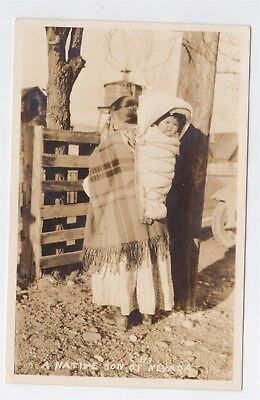 "Real Photo Native American Woman And Papoose Circa 1920's ""native Son Of Nevada"""