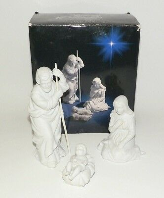 Vintage Avon Nativity Holy Family Joseph Mary Baby Jesus White Bisque