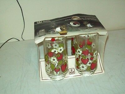 Anchor Hocking glasses NEW OLD STOCK 1980 patent American made Strawberry decor