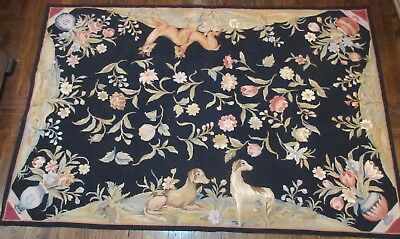 antique 6 x 4 foot hand embroidered figural dog deer needlepoint rug tapestry