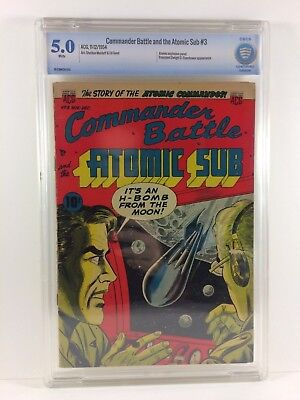 Commander Battle and the Atomic Sub #3 1954 CBCS 5.0 White Pages H-Bomb Cover