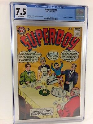 Superboy #112 1964 CGC 7.5 Off-White Pgs Superbaby!