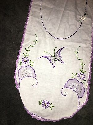 Vintage Butterfly Table Runner Dresser Scarf Linen Embroidered w/ Crochet Trim