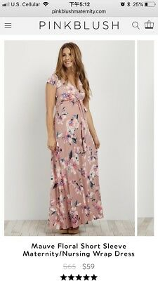 d35981e7893 PINK BLUSH FLORAL Maternity Nursing Maxi Wrap Dress Size Small ...