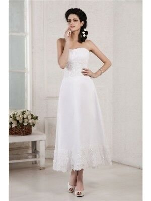 Vintage Tea Length Sweetheart Beach Wedding Dress Lace Beaded Sequin Bridal Gown