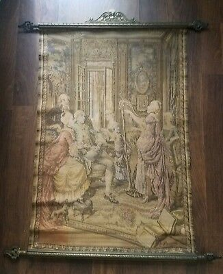 Antique Tapestry French Court Scene Signed
