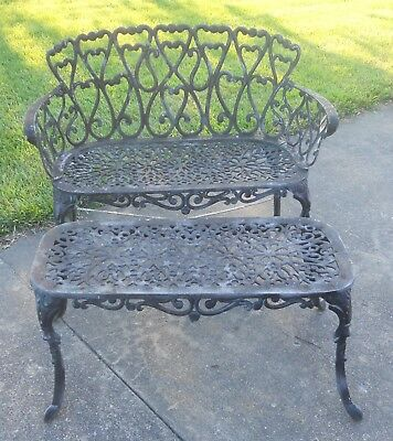Vintage Cast Aluminum Garden Bench and Table