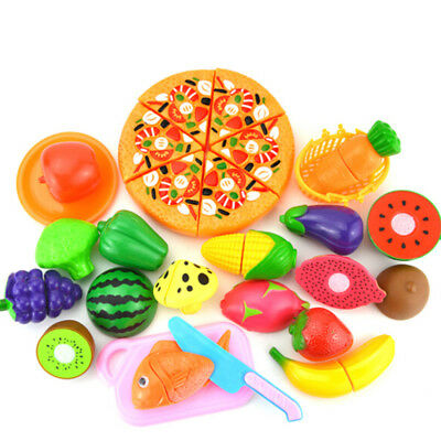 24 Pcs Kids Toy Pretend Role Play Kitchen Fruit Vegetable Cake Food Cutting Sets