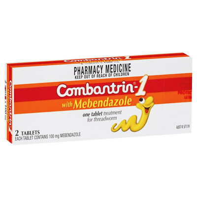 * Combantrin - 1 With Mebendazole 2 Tablets One Treatment For Threadworm