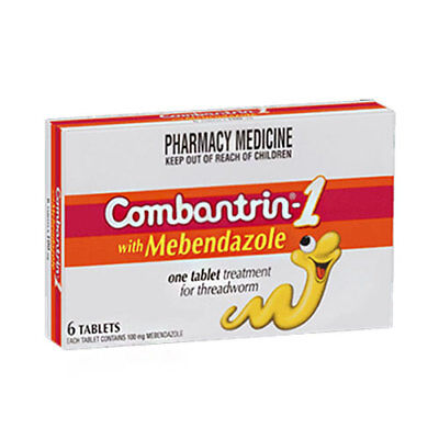* Combantrin - 1 With Mebendazole 6 Tablets One Treatment For Threadworm