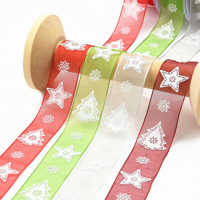 Christmas Decoration Sequins Printed Elk Ribbon Bow 7cmX270cm DIY Tree New Year