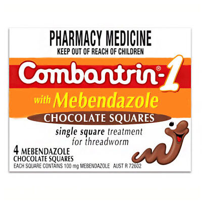 * Combantrin - 1 With Mebendazole 4 Chocolate Squares Treatment For Threadworm
