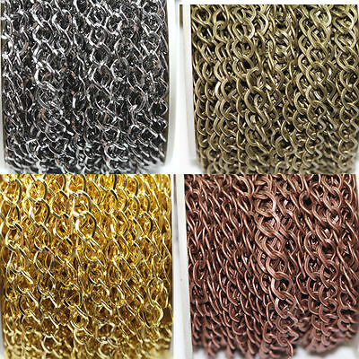 1/5m Silver Gold Plated Cable Open Link Metal Chain Jewelry Making Craft DIY