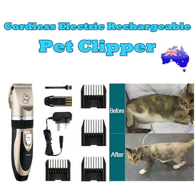 Electric Pet Clipper Dog Cat Hair Trimmer Comb Grooming Rechargeable Clipper AU