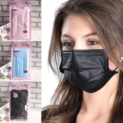 10pcs 3-Layer Disposable Anti Dust Activated Carbon Filter Anti Fog Mouth Mask