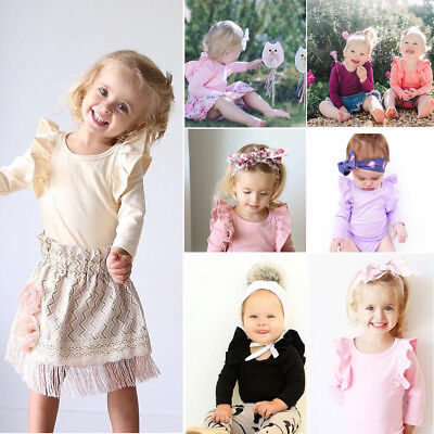Newborn Baby Girl T Shirt Long Sleeve Ruffle Romper Bodysuit Jumpsuit Outfit Set