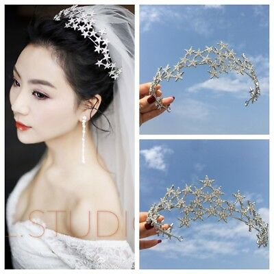 Baroque Bridal Pageant Jewelry Crystal Star Queen Crown Tiara Headbands Silver