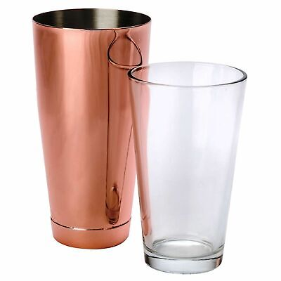 NEW Uber Copper Boston Shaker Cup Glass Bar Tool Cocktail Drink Margarita Shaker