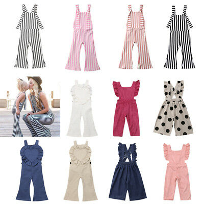 US Fashion Toddler Baby Girls Stripes Romper Bib Pants Overalls Outfits Clothes