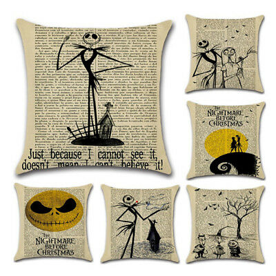 Nightmare Before Christmas Halloween Cotton Linen Pillow Case Cushion Cover new.