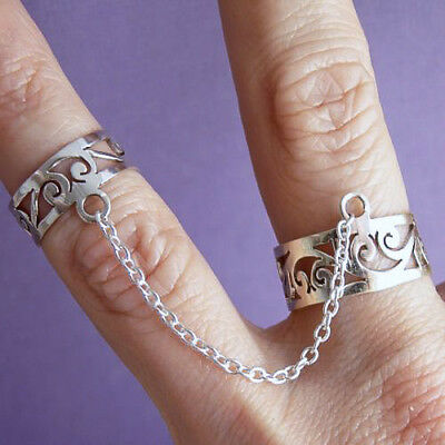 Chain-Linked Knuckle/Double JALI SilverSari Ring Adjustable Solid 925 Stg Silver