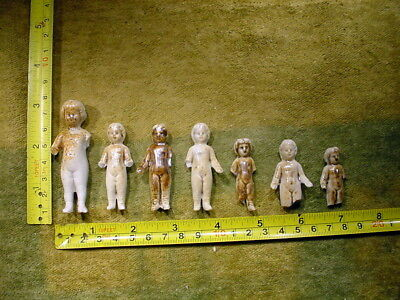 """7 x excavated vintage victorian frozen charlotte Doll age 1860 1.6-2.6 """" A 11662"""