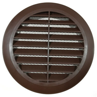 "Brown Circle Air Vent Grille 100mm 4"" 125mm 5""  Round Ducting Cover"