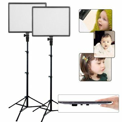 2X CN-Luxpad43 Slim 3200K-5600K 1412LM LED Video Photo Light with 2X 2m Stand