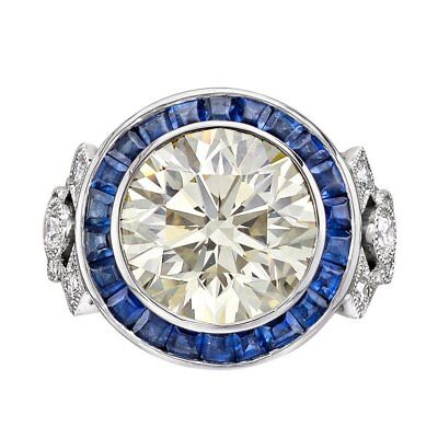 Art Deco 4.56CT Huge White Topaz Wedding Engagement 925 Silver Ring Size 6-10