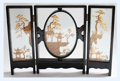 Vintage 70's Chinese Hand Carved Cork Diorama In Glass Case San You Trifold