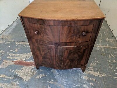 Antique Commode Cupboard, Chest, Bow Front, Walnut, Storage, Seat