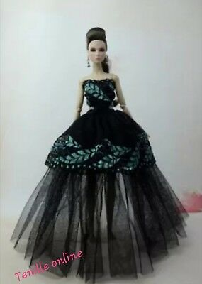 New Barbie clothes outfit princess wedding dress gown black green lace and shoes