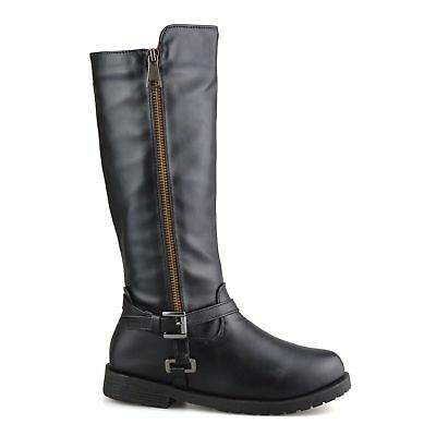 Briann Nicole Miller Black Knee High Mid Calf Casual Zip Up Biker Riding Boots