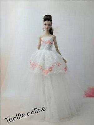 New Barbie clothes outfit princess wedding dress gown white lace and shoes