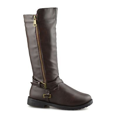 Brianna Nicole Miller Girls Brown Knee High Mid Calf Casual Zip Up Biker Boots