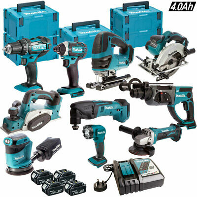 Makita 18V Li-Ion 10 Piece Power Tool Kit 4 x 4.0AH Batteries & Charger in Case