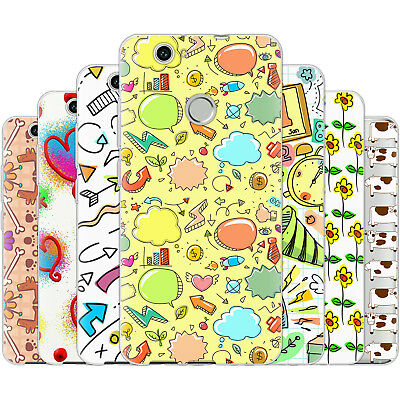 Dessana Doodle Sketch Silicone Protection Cover Case Pouch Cover for Huawei