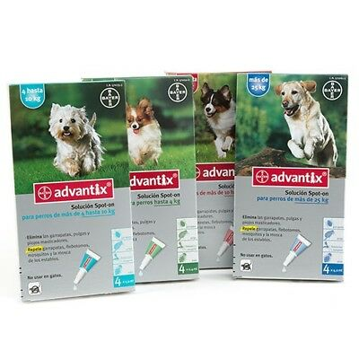 ADVANTIX Bayer -4 / 4 - 10 / 10 - 25 / +25Kg -Dogs Perros Chien Hund (Pack of 4)
