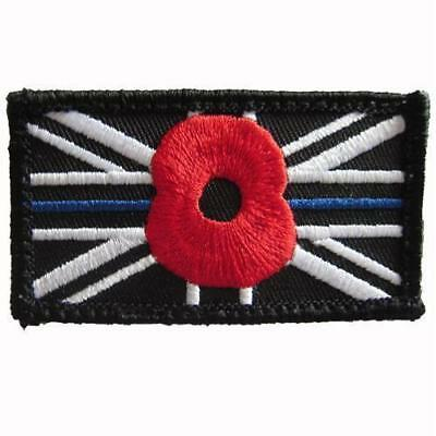 Black Union Jack thin blue line Poppy Embroidered Sew on VELCRO® patch