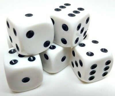 Dice 16mm White spot. 6 sided standard. Board and Wargame