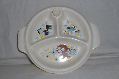 Vintage Divided Child's Warming Ceramic Dish Boy w/ Handles