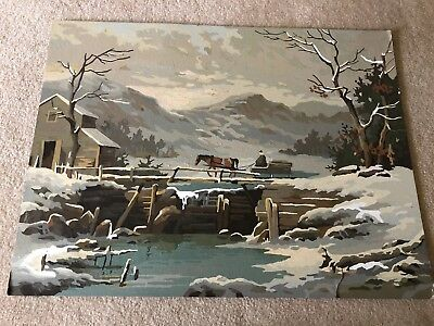 Vintage Large Paint By Number 18x24 Winter Horse And Sleigh FREE SHIPPING