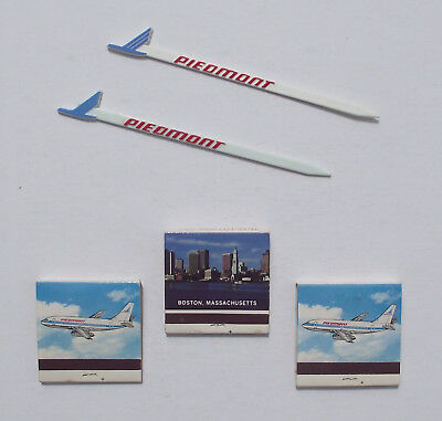 THREE Vintage Piedmont Airlines Matchbooks and TWO Swizzle Stirring Sticks