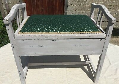 Shabby Chic Edwardian Painted and Upholstered Antique Piano Stool