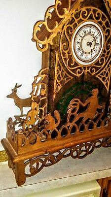Wood carved large Standing Clock